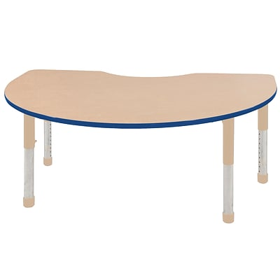 ECR4Kids Thermo-Fused Adjustable 72L x 48W Kidney Laminate Activity Table Maple/Blue/Sand (ELR-14204-MPBLSDCH)