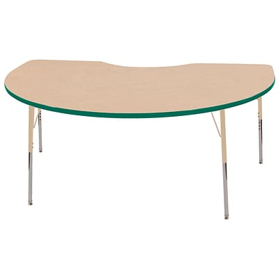 ECR4Kids T-Mold Adjustable 72L x 48W Kidney Laminate Activity Table Maple/Green/Sand (ELR-14104-MGNSD-TS)