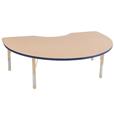 ECR4Kids Thermo-Fused Adjustable 72L x 48W Kidney Laminate Activity Table Maple/Navy/Sand (ELR-14204-MPNVSDCH)