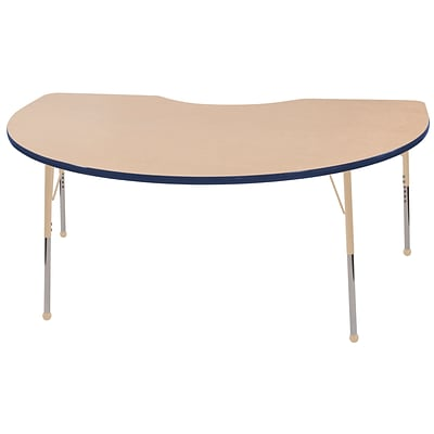 ECR4Kids Thermo-Fused Adjustable 72L x 48W Kidney Laminate Activity Table Maple/Navy/Sand (ELR-14204-MPNVSDSB)