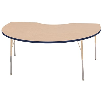 ECR4Kids Thermo-Fused Adjustable 72L x 48W Kidney Laminate Activity Table Maple/Navy/Sand (ELR-14204-MPNVSDSS)