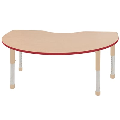 ECR4Kids T-Mold Adjustable 72L x 48W Kidney Laminate Activity Table Maple/Red/Sand (ELR-14104-MRDSD-C)