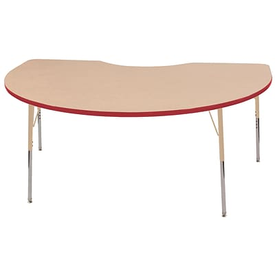 ECR4Kids Thermo-Fused Adjustable 72L x 48W Kidney Laminate Activity Table Maple/Red/Sand (ELR-14204-MPRDSDTS)