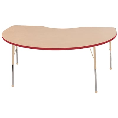 ECR4Kids T-Mold Adjustable 72L x 48W Kidney Laminate Activity Table Maple/Red/Sand (ELR-14104-MRDSD-TB)