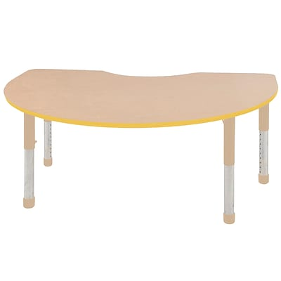 ECR4Kids Thermo-Fused Adjustable 72L x 48W Kidney Laminate Activity Table Maple/Yellow/Sand (ELR-14204-MPYESDCH)