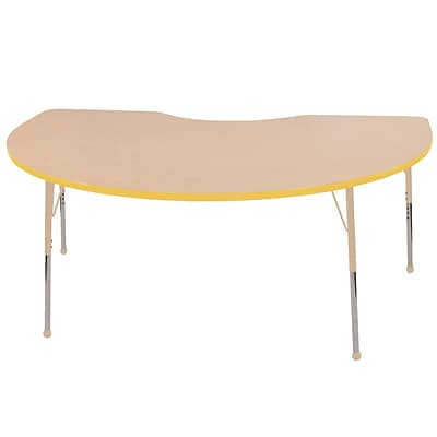 ECR4Kids T-Mold Adjustable 72L x 48W Kidney Laminate Activity Table Maple/Yellow/Sand (ELR-14104-MYESD-SB)