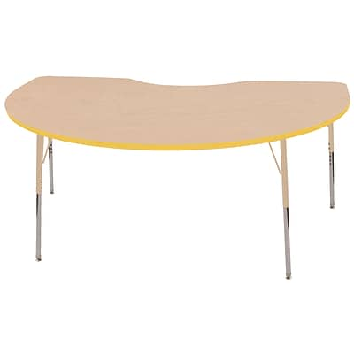 ECR4Kids T-Mold Adjustable 72L x 48W Kidney Laminate Activity Table Maple/Yellow/Sand (ELR-14104-MYESD-SS)