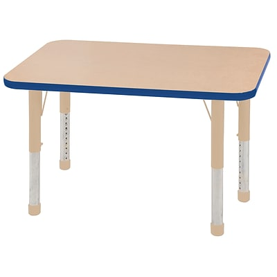 ECR4Kids T-Mold Adjustable 36L x 24W Rectangle Laminate Activity Table Maple/Blue/Sand (ELR-14106-MBLSD-C)