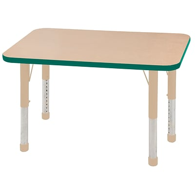ECR4Kids T-Mold Adjustable 36L x 24W Rectangle Laminate Activity Table Maple/Green/Sand (ELR-14106-MGNSD-C)