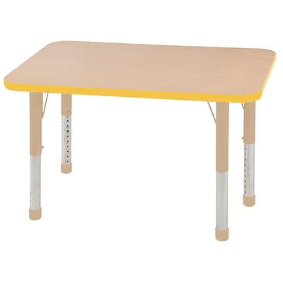 ECR4Kids T-Mold Adjustable 36L x 24W Rectangle Laminate Activity Table Maple/Yellow/Sand (ELR-14106-MYESD-C)