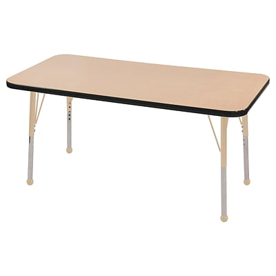 ECR4Kids Thermo-Fused Adjustable 48L x 24W Rectangle Laminate Activity Table Maple/Black/Sand (ELR-14207-MPBKSDTB)