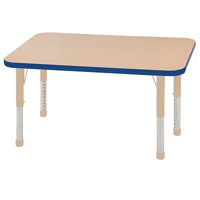 ECR4Kids Thermo-Fused Adjustable 48L x 24W Rectangle Laminate Activity Table Maple/Blue/Sand (ELR-14207-MPBLSDCH)