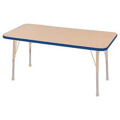 ECR4Kids Thermo-Fused Adjustable 48L x 24W Rectangle Laminate Activity Table Maple/Blue/Sand (ELR-14207-MPBLSDTB)