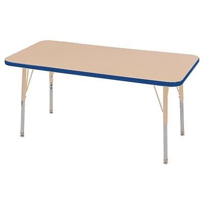 ECR4Kids T-Mold Adjustable 48L x 24W Rectangle Laminate Activity Table Maple/Blue/Sand (ELR-14107-MBLSD-SS)