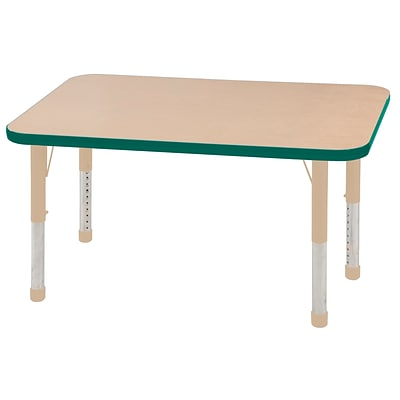 ECR4Kids Thermo-Fused Adjustable 48L x 24W Rectangle Laminate Activity Table Maple/Green/Sand (ELR-14207-MPGNSDCH)