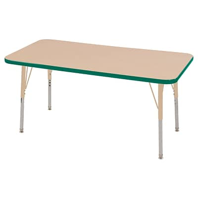 ECR4Kids T-Mold Adjustable 48L x 24W Rectangle Laminate Activity Table Maple/Green/Sand (ELR-14107-MGNSD-SS)