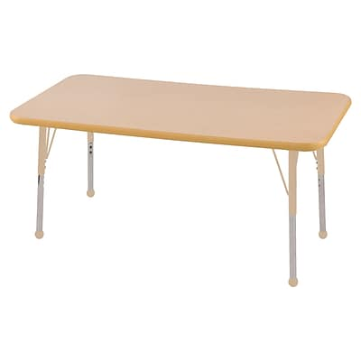 ECR4Kids Thermo-Fused Adjustable 48L x 24W Rectangle Laminate Activity Table Maple/Maple/Sand (ELR-14207-MPMPSDSB)