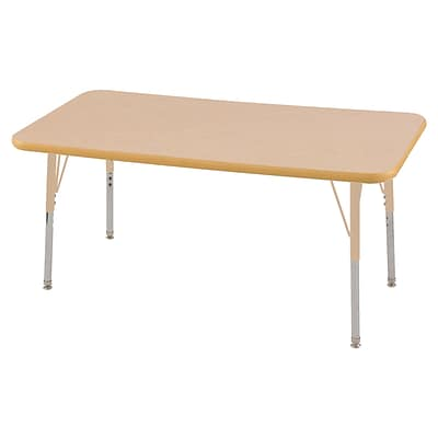 ECR4Kids Thermo-Fused Adjustable 48L x 24W Rectangle Laminate Activity Table Maple/Maple/Sand (ELR-14207-MPMPSDSS)