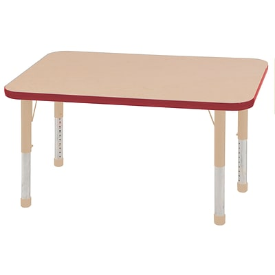 ECR4Kids T-Mold Adjustable 48L x 24W Rectangle Laminate Activity Table Maple/Red/Sand (ELR-14107-MRDSD-C)