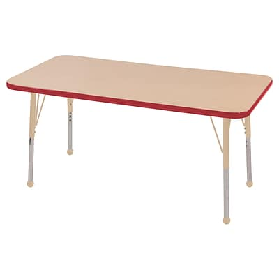 ECR4Kids Thermo-Fused Adjustable 48L x 24W Rectangle Laminate Activity Table Maple/Red/Sand (ELR-14207-MPRDSDSB)