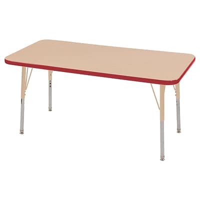 ECR4Kids Thermo-Fused Adjustable 48L x 24W Rectangle Laminate Activity Table Maple/Red/Sand (ELR-14207-MPRDSDSS)