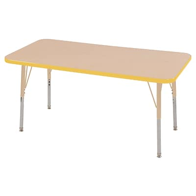 ECR4Kids T-Mold Adjustable 48L x 24W Rectangle Laminate Activity Table Maple/Yellow/Sand (ELR-14107-MYESD-SS)