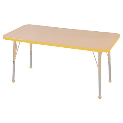 ECR4Kids T-Mold Adjustable 48L x 24W Rectangle Laminate Activity Table Maple/Yellow/Sand (ELR-14107-MYESD-TB)