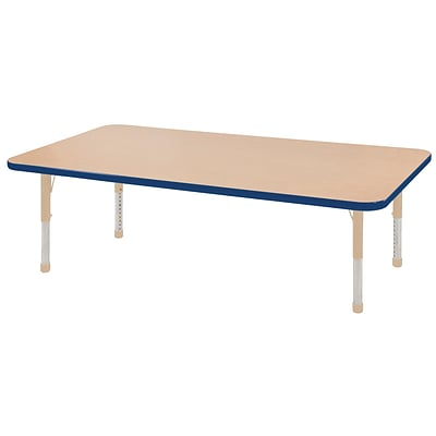 ECR4Kids Thermo-Fused Adjustable 60L x 24W Rectangle Laminate Activity Table Maple/Blue/Sand (ELR-14208-MPBLSDCH)