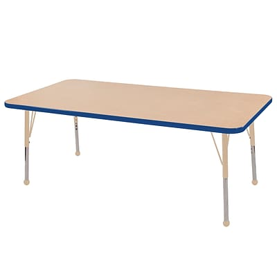 ECR4Kids Thermo-Fused Adjustable 60L x 24W Rectangle Laminate Activity Table Maple/Blue/Sand (ELR-14208-MPBLSDTB)