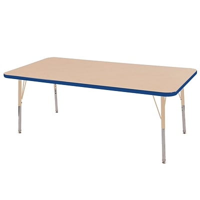 ECR4Kids Thermo-Fused Adjustable 60L x 24W Rectangle Laminate Activity Table Maple/Blue/Sand (ELR-14208-MPBLSDTS)