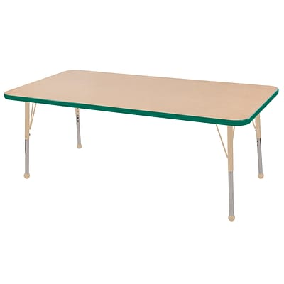 ECR4Kids T-Mold Adjustable 60L x 24W Rectangle Laminate Activity Table Maple/Green/Sand (ELR-14108-MGNSD-SB)