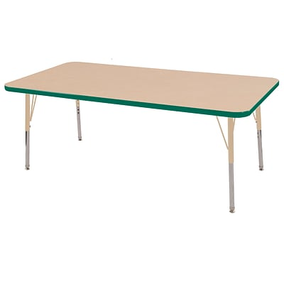 ECR4Kids Thermo-Fused Adjustable 60L x 24W Rectangle Laminate Activity Table Maple/Green/Sand (ELR-14208-MPGNSDTS)