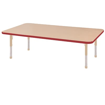ECR4Kids T-Mold Adjustable 60L x 24W Rectangle Laminate Activity Table Maple/Red/Sand (ELR-14108-MRDSD-C)