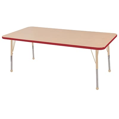 ECR4Kids T-Mold Adjustable 60L x 24W Rectangle Laminate Activity Table Maple/Red/Sand (ELR-14108-MRDSD-SB)