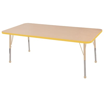 ECR4Kids T-Mold Adjustable 60L x 24W Rectangle Laminate Activity Table Maple/Yellow/Sand (ELR-14108-MYESD-SB)