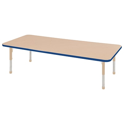 ECR4Kids T-Mold Adjustable 72L x 24W Rectangle Laminate Activity Table Maple/Blue/Sand (ELR-14109-MBLSD-C)