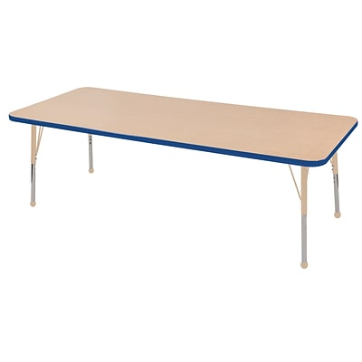 ECR4Kids T-Mold Adjustable 72L x 24W Rectangle Laminate Activity Table Maple/Blue/Sand (ELR-14109-MBLSD-SB)