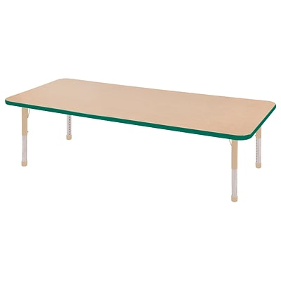ECR4Kids Thermo-Fused Adjustable 72L x 24W Rectangle Laminate Activity Table Maple/Green/Sand (ELR-14209-MPGNSDCH)