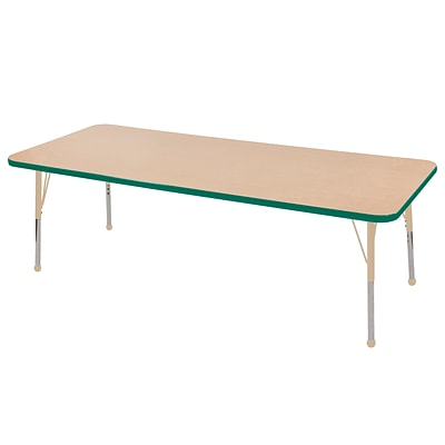 ECR4Kids T-Mold Adjustable 72L x 24W Rectangle Laminate Activity Table Maple/Green/Sand (ELR-14109-MGNSD-SB)