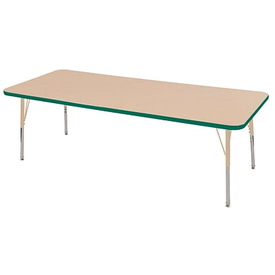 ECR4Kids Thermo-Fused Adjustable 72L x 24W Rectangle Laminate Activity Table Maple/Green/Sand (ELR-14209-MPGNSDTS)