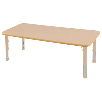 ECR4Kids T-Mold Adjustable 72L x 24W Rectangle Laminate Activity Table Maple/Maple/Sand (ELR-14109-MMSD-C)