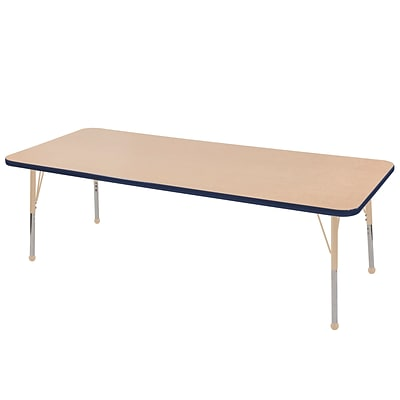ECR4Kids Thermo-Fused Adjustable 72L x 24W Rectangle Laminate Activity Table Maple/Navy/Sand (ELR-14209-MPNVSDTB)