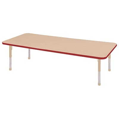 ECR4Kids Thermo-Fused Adjustable 72L x 24W Rectangle Laminate Activity Table Maple/Red/Sand (ELR-14209-MPRDSDCH)