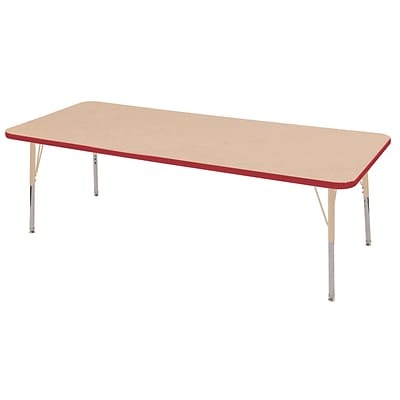 ECR4Kids Thermo-Fused Adjustable 72L x 24W Rectangle Laminate Activity Table Maple/Red/Sand (ELR-14209-MPRDSDSS)