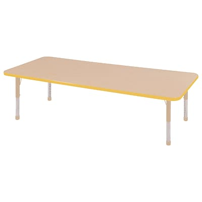ECR4Kids Thermo-Fused Adjustable 72L x 24W Rectangle Laminate Activity Table Maple/Yellow/Sand (ELR-14209-MPYESDCH)