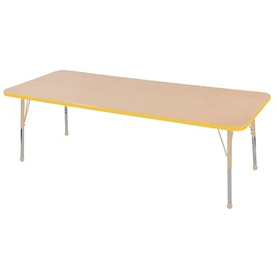 ECR4Kids Thermo-Fused Adjustable 72L x 24W Rectangle Laminate Activity Table Maple/Yellow/Sand (ELR-14209-MPYESDSB)