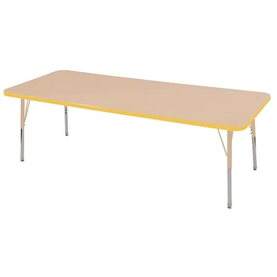 ECR4Kids T-Mold Adjustable 72L x 24W Rectangle Laminate Activity Table Maple/Yellow/Sand (ELR-14109-MYESD-SS)