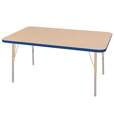 ECR4Kids T-Mold Adjustable 48L x 30W Rectangle Laminate Activity Table Maple/Blue/Sand (ELR-14110-MBLSD-SS)