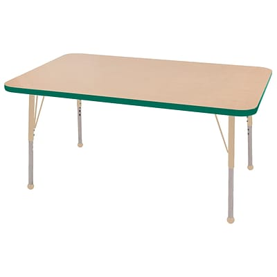 ECR4Kids T-Mold Adjustable 48L x 30W Rectangle Laminate Activity Table Maple/Green/Sand (ELR-14110-MGNSD-TB)
