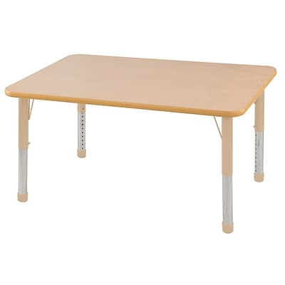 ECR4Kids T-Mold Adjustable 48L x 30W Rectangle Laminate Activity Table Maple/Maple/Sand (ELR-14110-MMSD-C)
